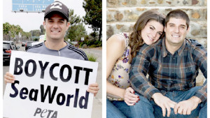 PETA says Facebook photos show the same person — Paul McComb as Thomas Jones on left and McComb on right. Images via PETA
