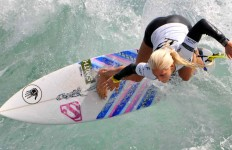 Tatiana Weston-Webb won the Supergirl Pro surfing competition in Oceanside. Photo by Chris Stone