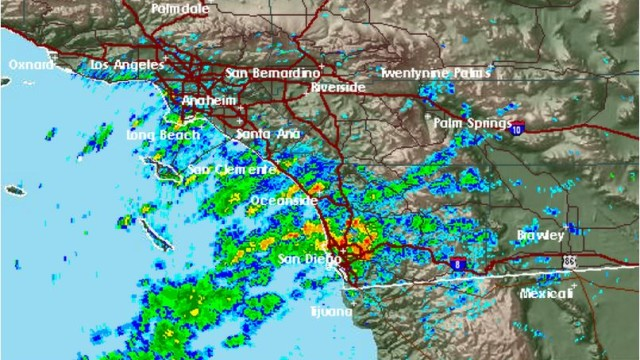 National Weather Service radar map shows thunderstorms in San Diego shortly after 6 a.m.
