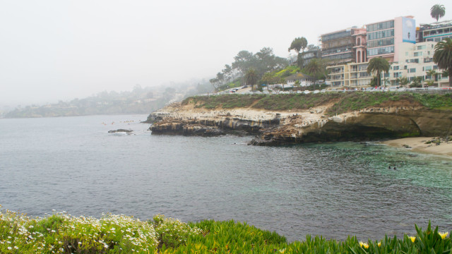 La Jolla Cove on a cloudy day. Photo from Wikimedia Commons.