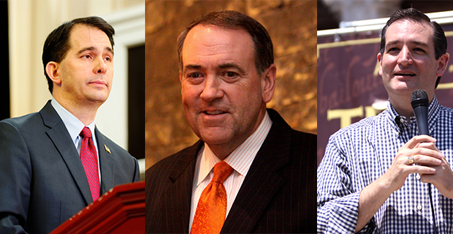The three Republican Presidential hopefuls who will visit San Diego this week. Photos courtesy of WIkimedia Commons.