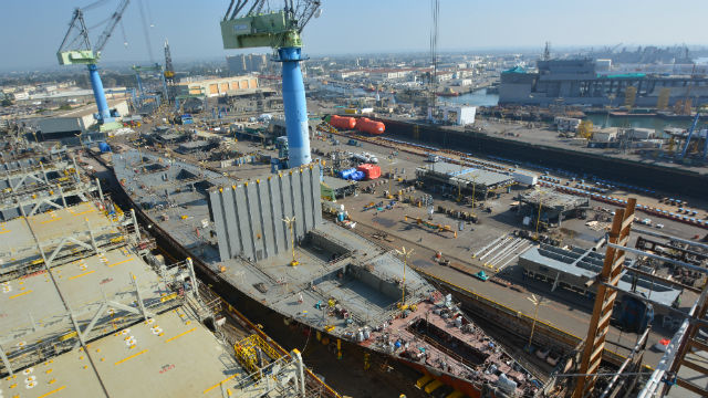 The second Marlin-class LNG-powered container ship under construction at NASSCO. Courtesy Tote