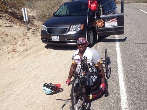 Toran Gaal of Escondido cycling on his cross-country tour.  Photo courtesy of NBC4 news.