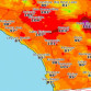 National Weather Service map shows noon temperature forecast for San Diego region.