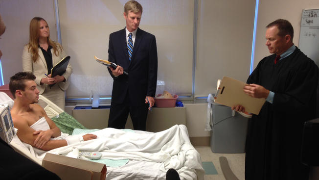 Antony N. Schoenle  arraigned at his hospital bed in La Jolla. Photo courtesy of NBC San Diego