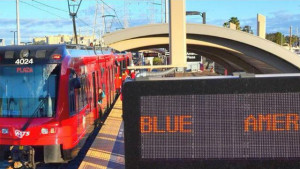 A Blue Line trolley at American Plaza. Courtesy San Diego MTS