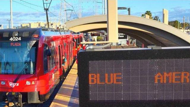 A Blue Line trolley at American Plaza. Courtesy San Diego MTS