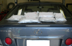 The Lexus with bags of crystal meth that were found in it. Photo courtesy Border Patrol