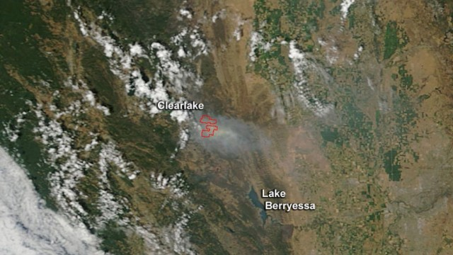 The Rocky Fire as seen from space.  Photo courtesy of NASA.