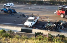 Two people were seriously injured in the crash on Oceanside Boulevard. Photo courtesy of NBC 7 San Diego