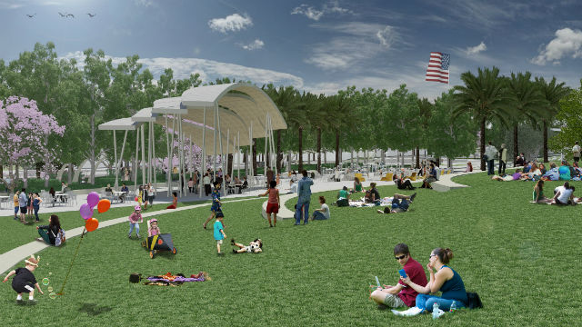 A computer rendering of the amphitheater in Civita's centerpiece park. Courtesy Sudberry Properties