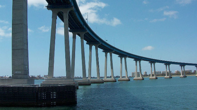 The Coronado Bridge over San Diego Bay. Photo by Nehrams2020 via Wikimedia Commons