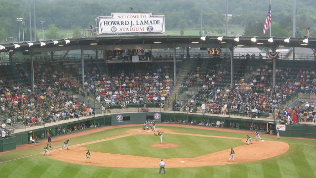 A Little League World Series game at Howard J. Lamade Stadium in South Williamsport, PA. Photo via Wikimedia Commons