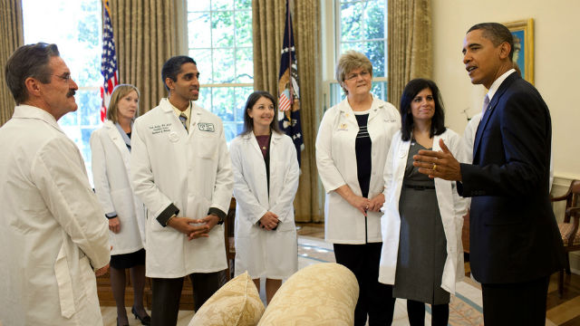President Obama greets doctors from around the country. White House photo by Pete Souza