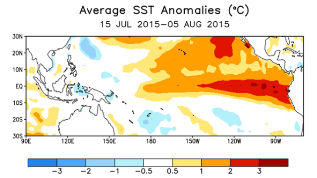 NOAA chart shows differences in ocean surface temperature from normal.