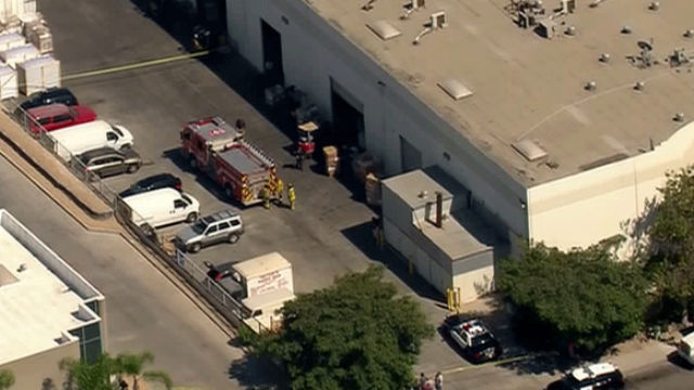 A marijuana growing warehouse explosion injured one person in Otay Mesa. Photo courtesy of Fox 5 San Diego