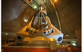 The 200-inch Hale Telescope at Caltech's Palomar Observatory. Photo by Scott Kardel, Palomar Observatory
