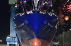 The launch of the Perla Del Caribe at the NASSCO shipyard in Barrio Logan. Courtesy of NASSCO