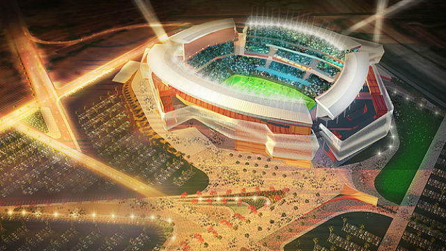 Aerial view of proposed San Diego football stadium. Courtesy Populous