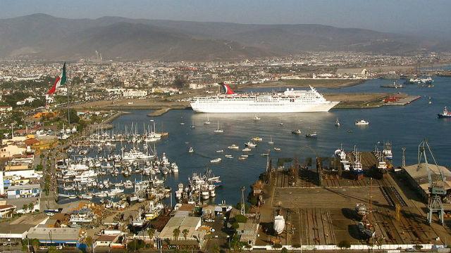 A cruise ship in the port of Ensenada. Photo by Cesar Bojorquez via Wikimedia Commons