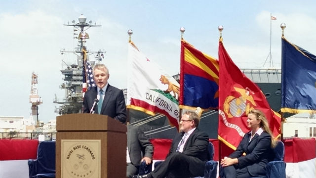 Navy Secretary Ray Mabus speaks before signing the agreement with Sempra. Photo by Chris Jennewein