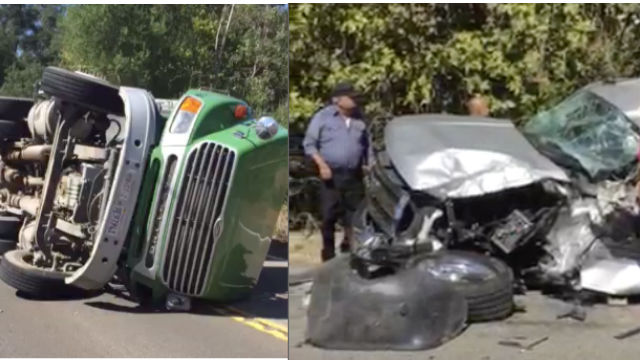 A semi truck crashed into another car and overturned on State route 94. Photo courtesy of Fox 5 San Diego