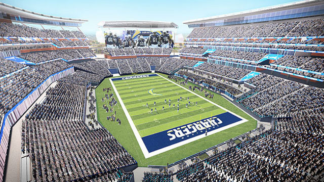 Interior of proposed San Diego stadium looking north. Courtesy Populous