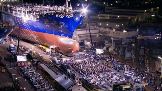 The launch of the first Marlin-class container ship in April. Courtesy NASSCO