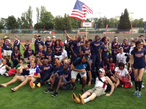 Members of Team USA assemble at Opening Ceremonies of the 21st World Masters Athletics Championships at Stadium Balmont in Lyon, France.