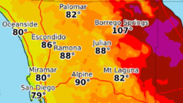 National Weather Service Map Shows Forecast High Temperatures On Wednesday