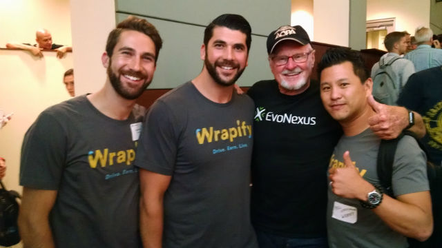 EvoNexus CEO Rory Moor (second from right) with the Wrapify team. Photoby Chris Jennewein