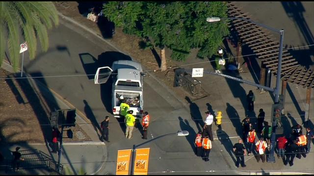 A suspect is in custody after leading police on a car chase in Logan Heights. Photo courtesy of CBS 8 News