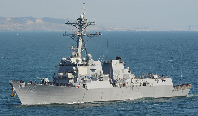 The guided-missile destroyer USS William P. Lawrence steams toward San Diego Harbor. U.S. Navy photo by Mass Communication Specialist 3rd Class Nathan Burke
