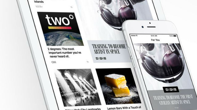 The new Apple News app on an iPad and iPhone. Courtesy Apple Computer