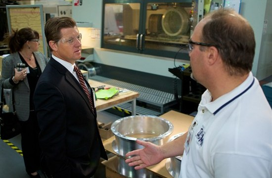 Assemblyman Brian Jones tours a local factory. Courtesy of Brian Jones' office
