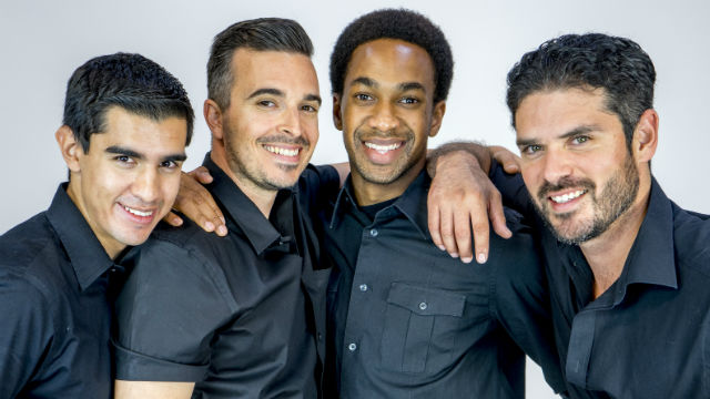 """The four busboys in """"My Manana Comes"""" at the San Diego Rep. Photo by Daren Scott"""