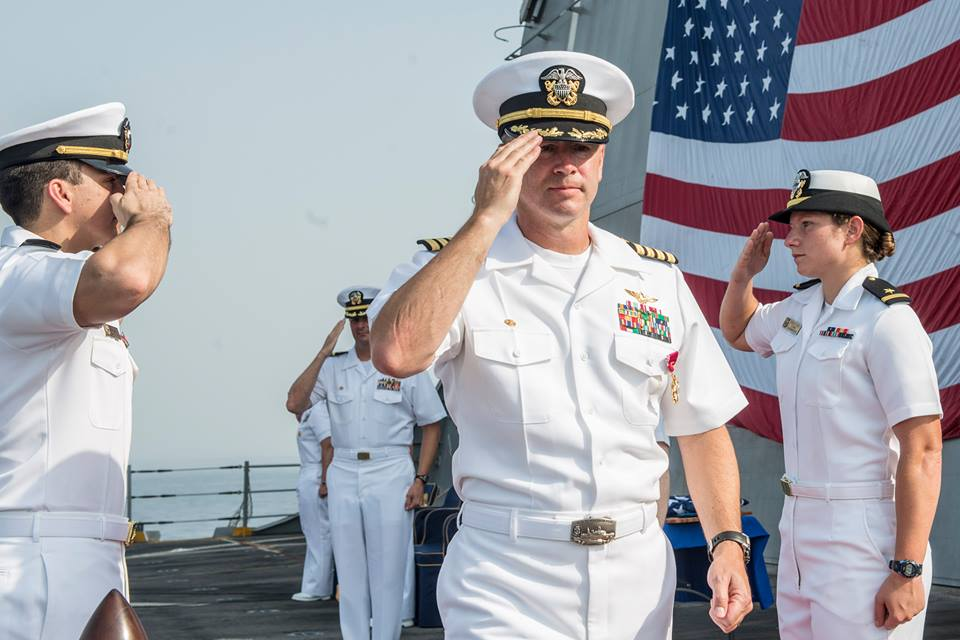 Capt. Michael McKenna at the change of command ceremony. Photo courtesy of the US Navy