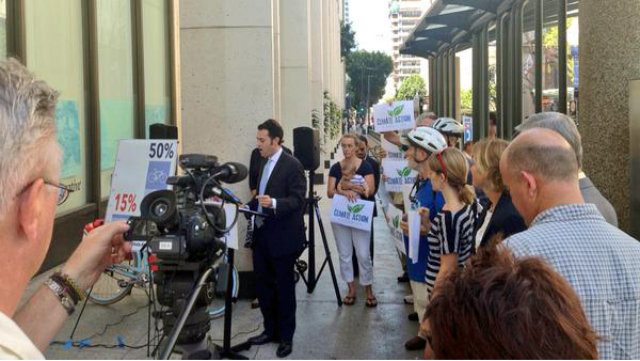 Circulate San Diego's Colin Parent talking to the media opposing SANDAG's transportation plan. Photo courtesy of CirculateSD