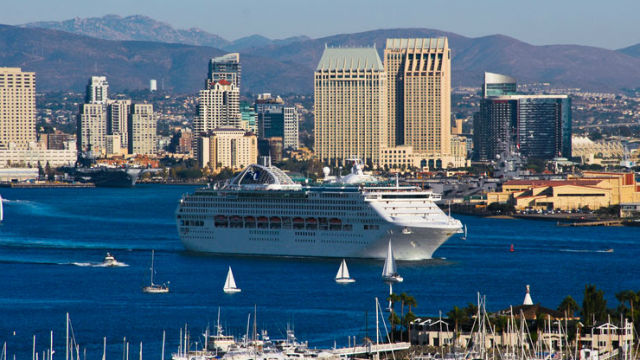 A cruise ships departs San Diego. Courtesy of the Port of San Diego