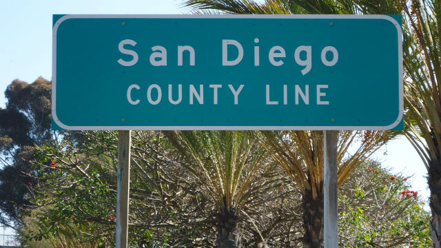 San Diego county line sign