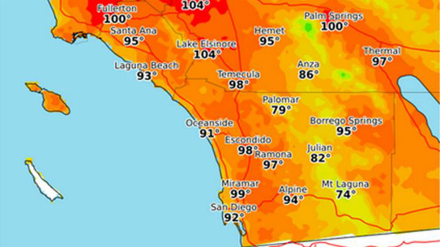 National Weather Service Map Shows High Temperatures Forecast For Thursday In The Sango Area