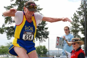 Leland McPhie long-jumped at the 2008 USATF National Masters Championships in Spokane. Photo by Ken Stone