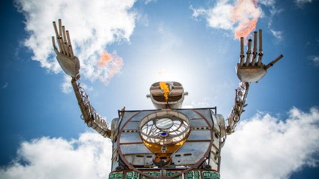 A fire-breathing robot at MakerFaire in San Francisco. Courtesy Balboa Park Conservancy