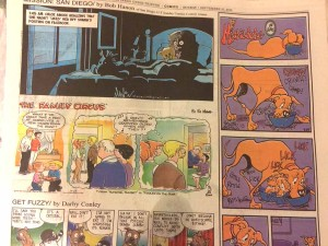 Marmaduke appears Sunday, Sept. 27, in U-T comics spot traditionally reserved for Doonesbury. Photo by Ken Stone
