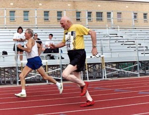 At 90, Don Pellman keeps pace with an 85-year-old at the 2005 Rocky Mountain Masters Games. Photo courtesy Ned Pellmann