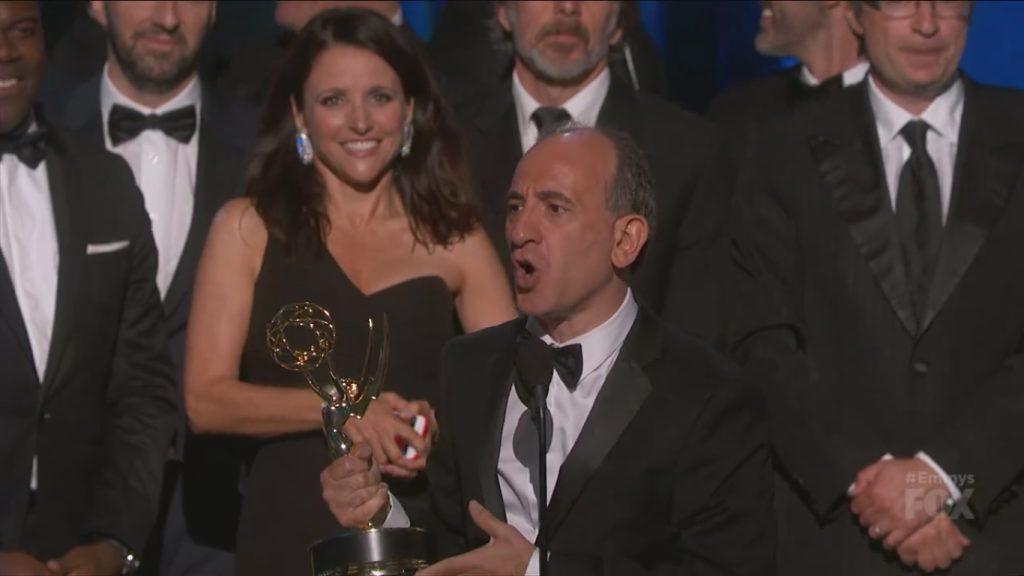 'Veep' series creator Armando Iannucci accepting the Emmy Award on Sunday night. Photo courtesy of Fox