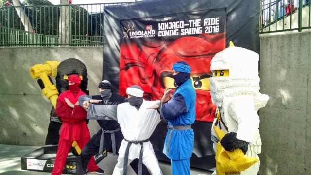 The martial arts dance troupe Sideswipe as Ninja warriors alongside Ninjago characters. Photo by Chris Jennewein