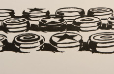 Wayne Thiebaud, Yo-Yo's, 1964, woodcut, Laguna Art Museum Collection, Promised Gift of Wayne and Betty Jean Thiebaud © Wayne Thiebaud/Licensed by VAGA, New York, NY.