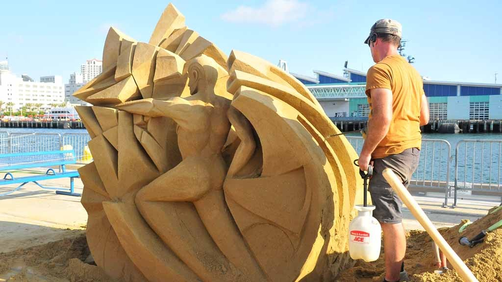 Fergus Mulvaney of Ireland puts on the finishing touches of his entry. Photo by Chris Stone