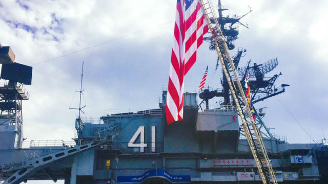 The flag raised at the USS Midway Sept. 11 Commemoration. Photo courtesy of the Midway
